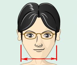 フレームの横幅は顔と同じくらいかやや小さめ