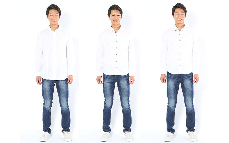 シャツの着丈比較